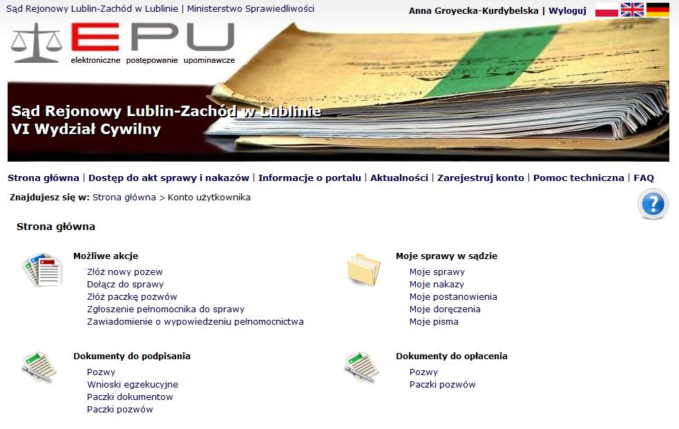 windykacja EPU sąd elektroniczny
